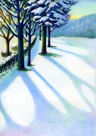 冬の雪景色のイラスト