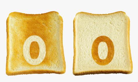 食パンに焼印風のアルファベットの小文字のo