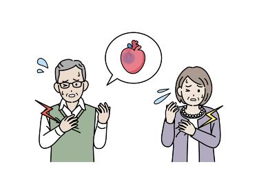 高齢者 年配 男女 心筋梗塞 発作 大動脈瘤 乳がん イラスト素材