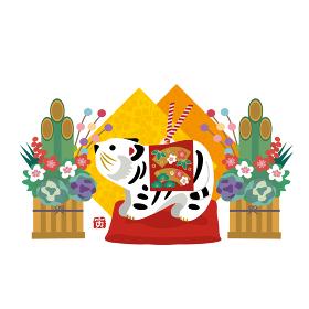 2022年 年賀状 寅年 トラの置物と正月飾り イラスト