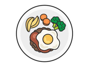 皿に盛られたハンバーグのイラスト