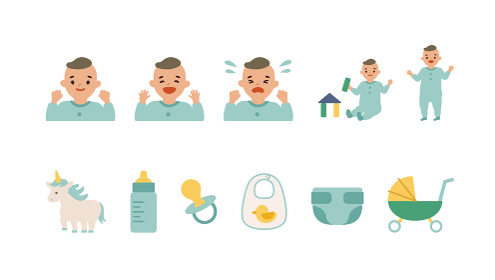 男の子の赤ちゃんとベビー用雑貨のイラスト