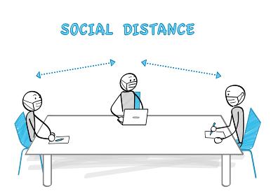 感染症対策とソーシャルディスタンス テーブル越しに座る3人