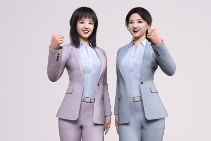 髪の毛を下ろしたピンクのスーツの女性と髪の毛を束ねたグレーのスーツのビジネスウーマンがガッツポーズ