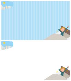 起床についての背景デザインパーカーを着た女性のセット