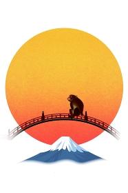 太鼓橋に座るサルと富士山 イラスト