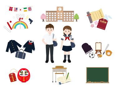 学生と学校のイラスト素材