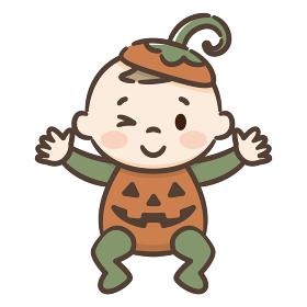 ハロウィン ジャックオランタンの衣装を着た赤ちゃん