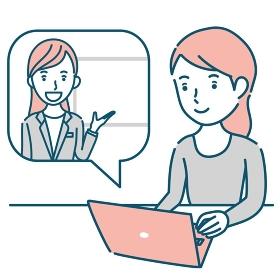 女性講師からオンラインで説明を受ける女性のイラスト素材