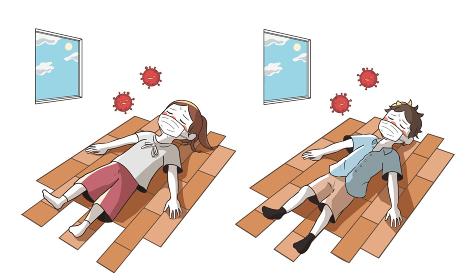 熱中症と新型コロナウイルスで倒れる 室内