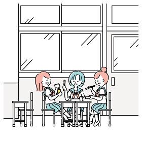 昼休みに教室でお弁当を食べる女子生徒たち