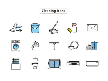 掃除 清掃 掃除用具 道具 アイコン セット
