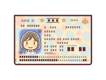 パスポートの顔写真ページのイラスト(女性)
