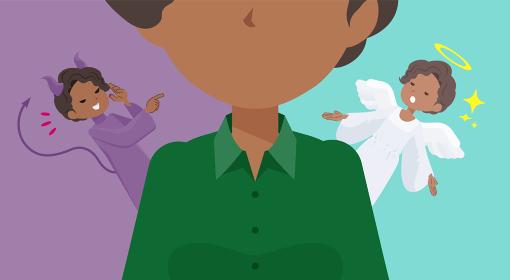 天使と悪魔の間で葛藤する黒人ビジネス女性のセット