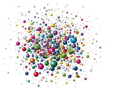 ランダムにはじける色とりどりのカラーボール