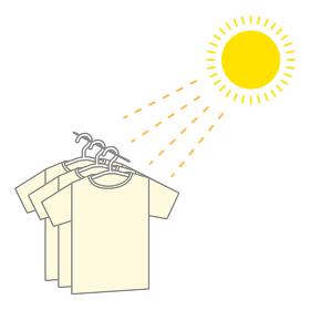 Tシャツを天日干しする