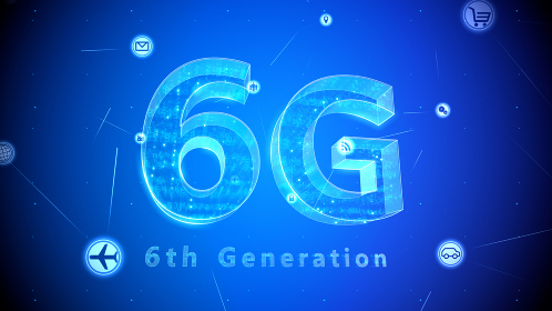 6G テクノロジー アイコン ネットワーク シンボル インターネット デジタル 3D イラスト