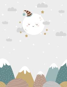 シームレスな山と雲、月の背景素材