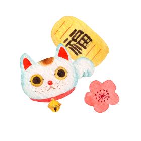 縁起物 招き猫 水彩 イラスト