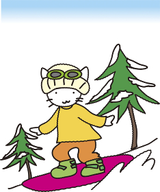 スノーボードをするネコ