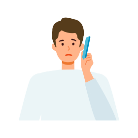 スマートフォンを使う男性 困る、悩む