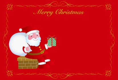 煙突に座るサンタクロースのクリスマスカード