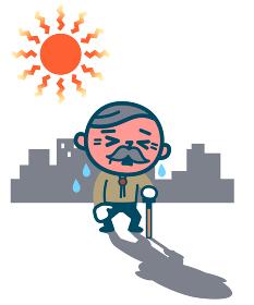 熱中症のシニア男性