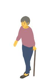 アイソメトリック図法 健康的なおばあちゃんが杖をついて歩くベクターイラスト