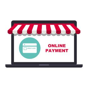 オンラインショップコンセプト ノートパソコンとクレジットカード