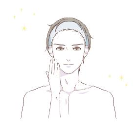 ヘアバンドをつけた男性の美容イメージイラスト素材(手あり)