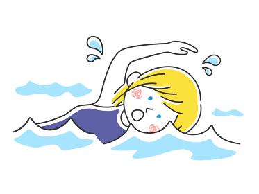 プールで泳ぐ白人女性のイラスト