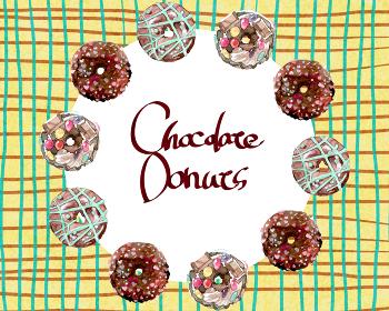チョコレートドーナツのフレーム チェック背景