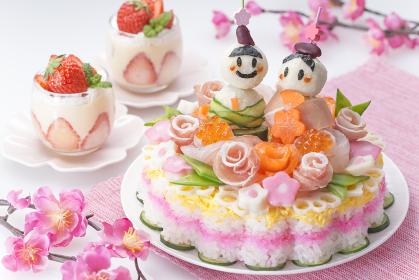 ひなまつり食卓イメージ ケーキちらし寿司
