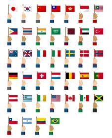 手持ち国旗イラストセット ( 愛国心・イベント・お祝い・デモ )
