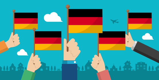 手持ち国旗 バナーイラスト ( 愛国心・イベント・お祝い ・デモ) / ドイツ