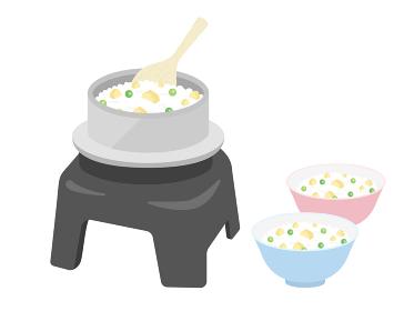 窯で炊いた栗ご飯のイラスト