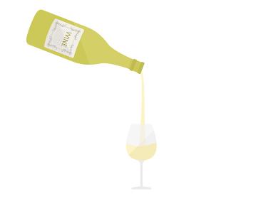 白ワインを注ぐイラスト