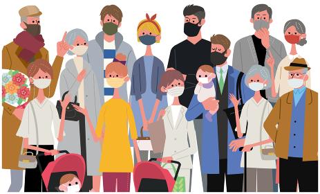 マスクをつけた大人数の人々 イラスト バナー