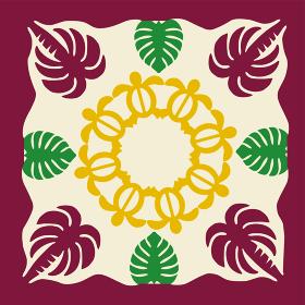 ハワイアンキルトのパターン海亀ホヌとヤシの木モンステラ|背景イラスト夏のイメージ ベクターデータ