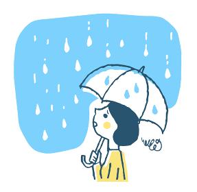 傘をさす困った表情の女性