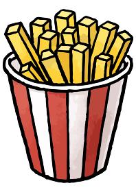 【手描きベクター食べ物イラスト素材】フライドポテトのイラスト【縁日・お祭り・屋台の食べ物】