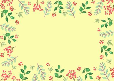 水彩で描いた植物のフレーム
