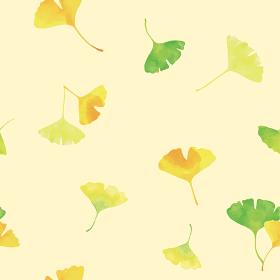 おどるイチョウの葉。水彩イラスト シームレス、連続模様(黄色背景)