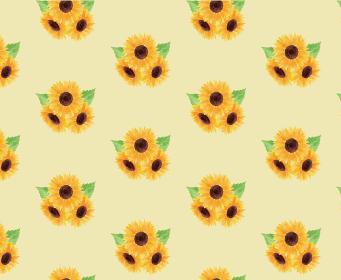 ひまわり ヒマワリ 向日葵 模様 黄色 夏 花 イラスト 手描き