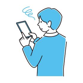スマートフォンを操作しているスーツ姿の男性 困り顔 程よいシンプルなイラスト ベクター