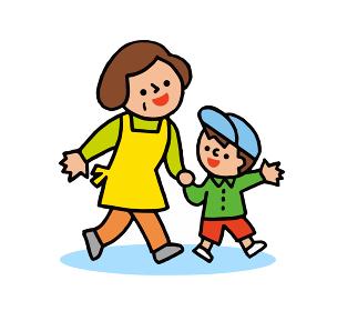 手を繋いで歩くおばあちゃんと孫