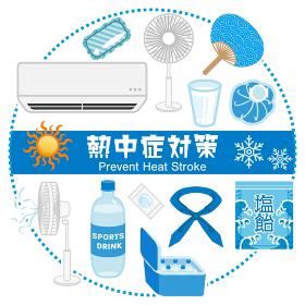 熱中症対策グッズ アイコンセット 円形配置