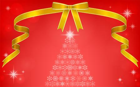 リボンと雪の結晶のクリスマスツリーのイラス