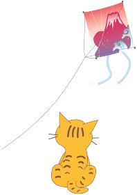 初日の出の富士山の凧 と猫