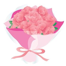 ピンクのバラの花束のイラスト